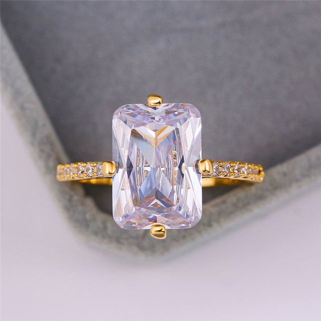Charm Female Square Crystal Stone Ring Dainty Round Big Zirconia Gold Rings For Women Luxury Wedding Band Engagement Ring
