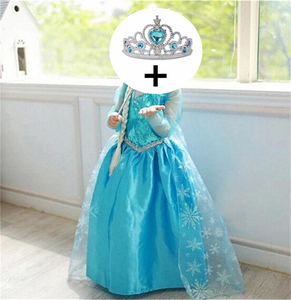 Princess Fancy Girls Dress for Girls Clothing Wear Cosplay Costume Halloween Christmas Party With Crown Kids Dresses