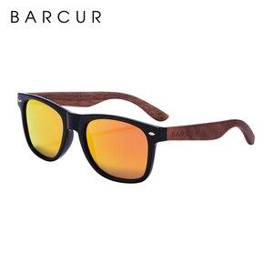 Image 5 - BARCUR באיכות גבוהה אגוז שחור משקפי שמש נגד Reflecti גברים נשים מראה שמש משקפיים זכר UV400 עץ גווני משקפי שמש Oculos