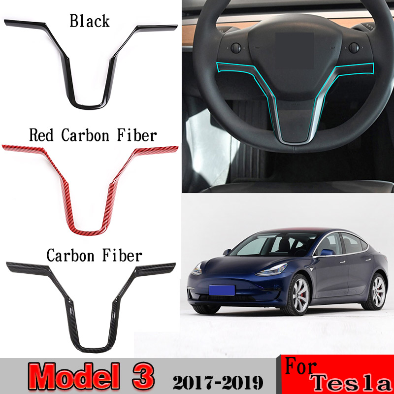 For Tesla Model 3 2017-2019 Steering Wheel Sequin Steering Wheel Decoration Cover Car Accessories