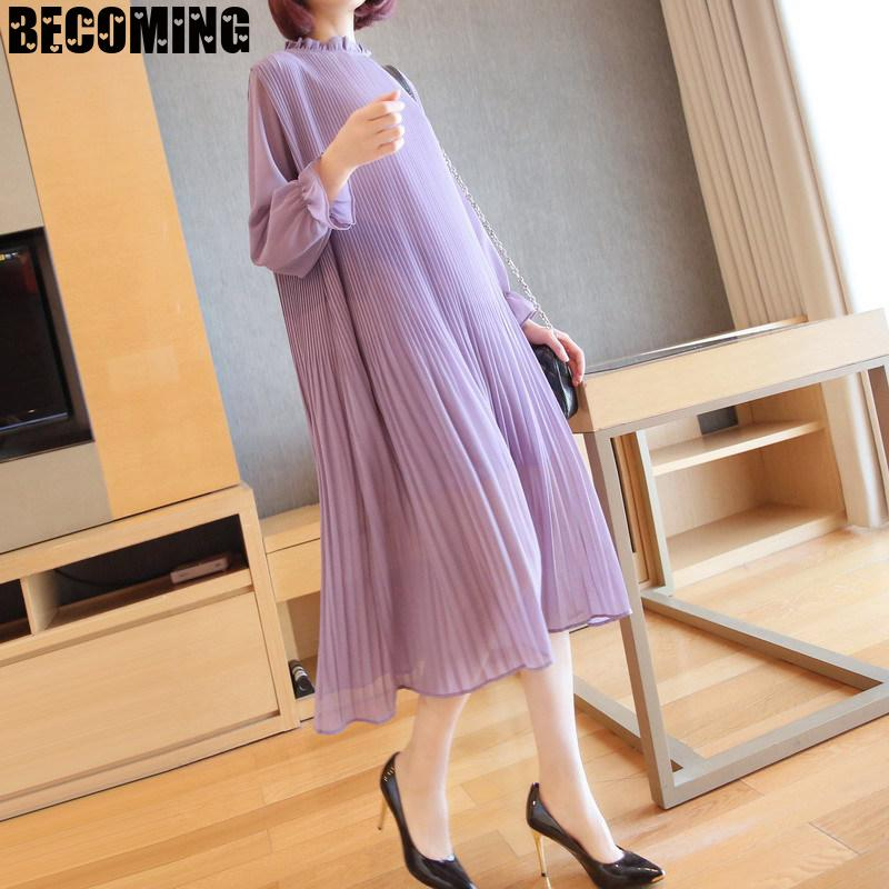 Autumn Women's Long Dress Pregnancy Closing Thin And Loose Long Sleeve A-line Maternity Sweater Dress 1661004