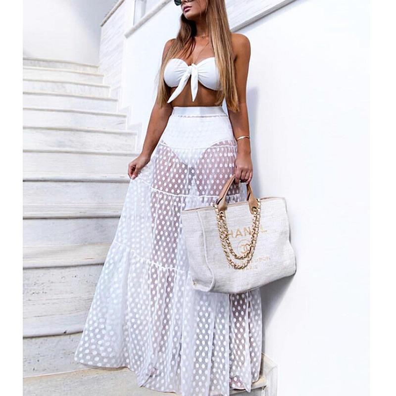 Women Mesh Sheer Maxi Skirt Wrap Skirt Beach Tulle See Through Dress Beachwear Swimwear Bikini Wear Cover Up Lace Crochet Dress