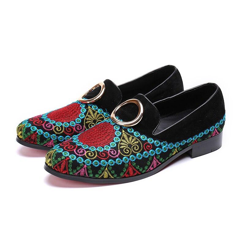 CH.KWOK Luxury Italian Genuine Leather Men Falt Embroide Oxford  Black  Men's Dress Shoes Office  Fashion Shoes