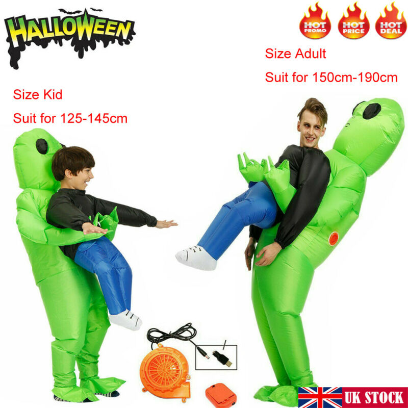 Inflatable Monster Costume Green Alien Carrying Man Halloween Adult Kids Cosplay Props Toys For Kids Adult
