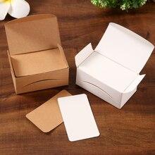 Tarjeta de papel Kraft 100 unids/lote, tarjetas de negocios en blanco, notas para mensajes, regalo de fiesta, etiqueta de tarjetas de agradecimiento, marcapáginas