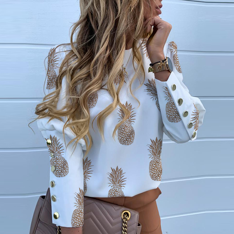 Elegant New Puff shoulder blouse shirts Office Lady Autumn Metal Buttoned Detail Blouses women Pineapple print long sleeve tops 5