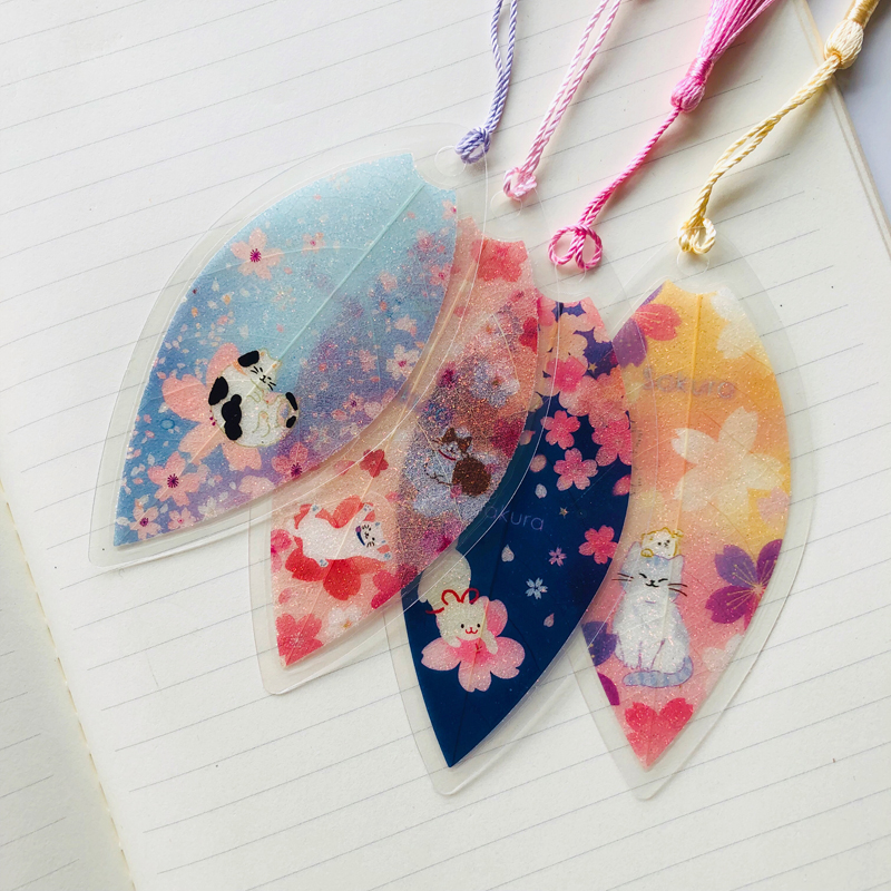 1X Beautiful Leaf Vein Sakura Cat Tassel Bookmark Marker Of Page School Supply