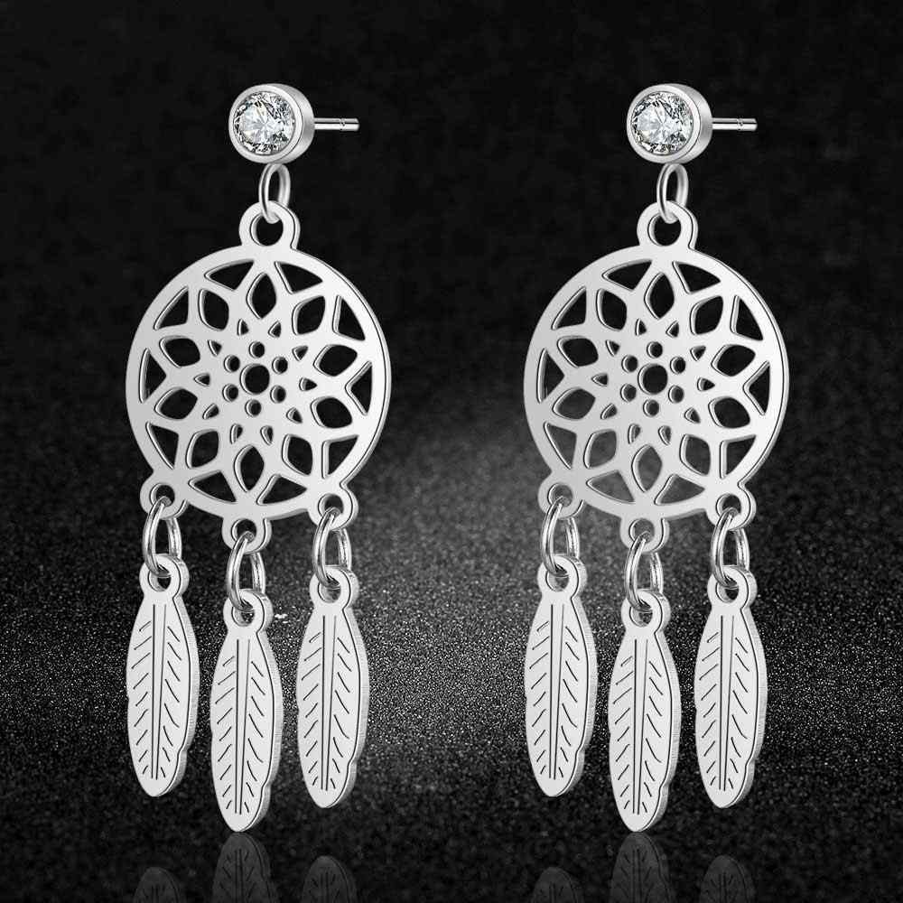 AAAAA Quality 100% Stainless Steel Dream Catcher Earring for Women Gift Wedding Party Earrings Jewelry