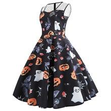 pumpkin print dresses woman party night halloween elegant dress 2019 plus size gothic print vintage o-neck sleeveless plus size halloween cat bat pumpkin print dress