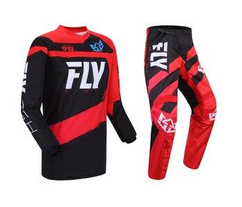 Set de equipo de pesca con mosca para Motocross, negro, conjunto rojo