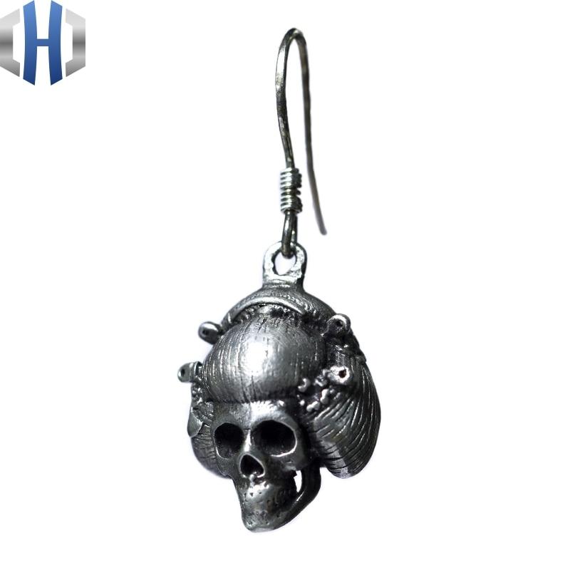 Original Design fait à la main en argent crâne boucles d'oreilles personnalité oreille crochet 925 en argent Sterling boucles d'oreilles femme rétro - 4
