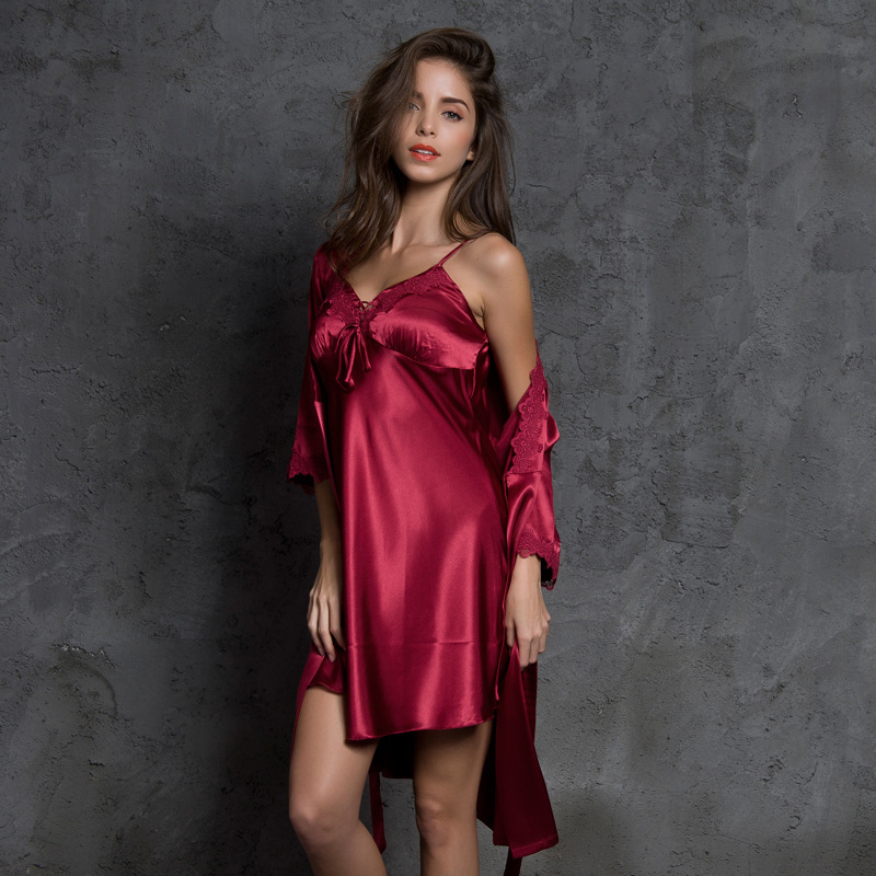 SP&CITY Women Sexy Slip Sleepwear Two Silk Bride Robe Bow Lace Thin Bridesmaid Dressing Gown Night House Wear Female Negligee