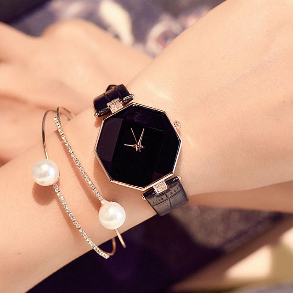 Women Fashion Faux Leather Band Analog Quartz Wrist Watch Rhombic Wristwatch Ladies Dress Watches Gift Luxury