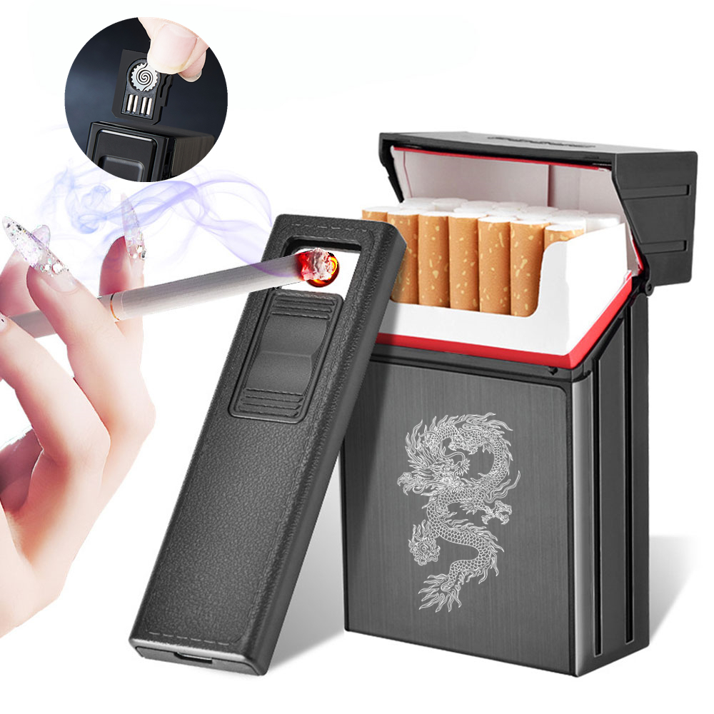 Rechargeable Lighter With Replaceable Heating Spiral 20 Cigarette Cases Removable USB Cigarette Lighter
