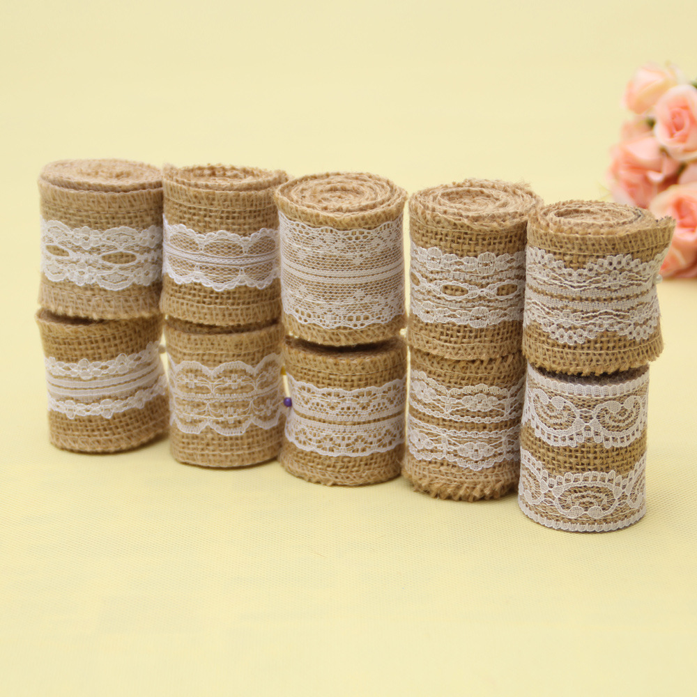 Vintage Printed Flower Hessian Burlap Ribbon Roll Rustic Wedding Party Decor