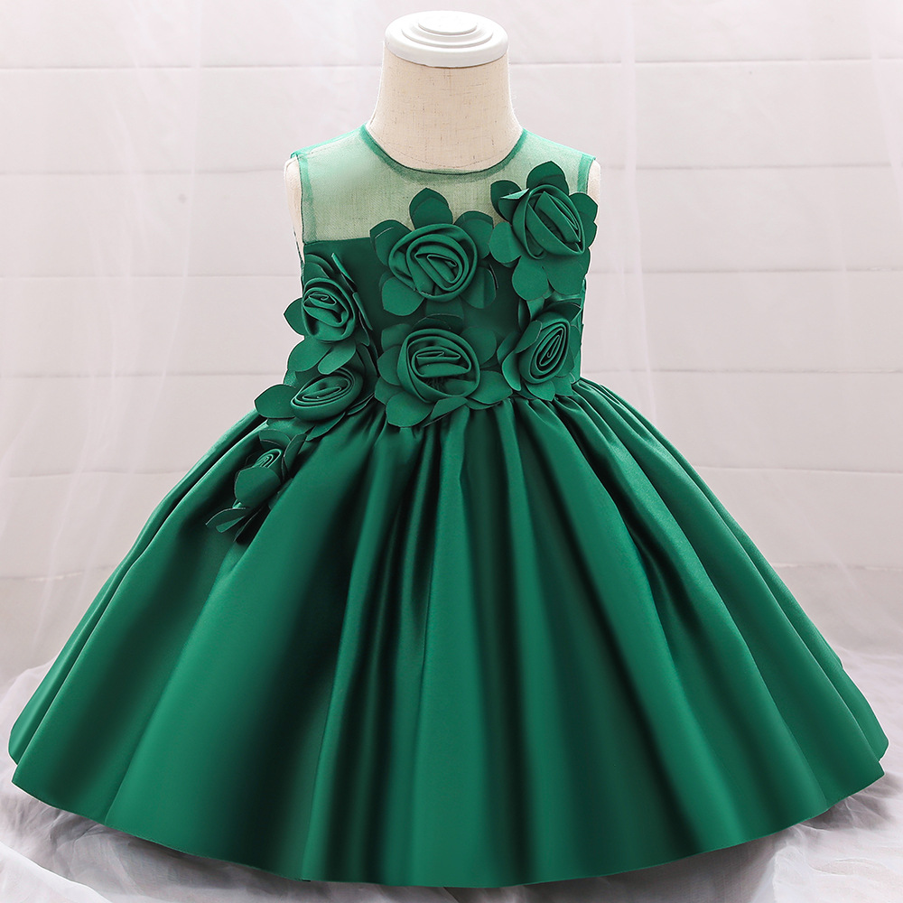 Flower Girls Dresses For Weddings Handmade Flowers Bow Sash Baby Child Birthday Party Gown First Communion Dress