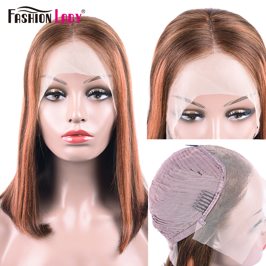 FASHION LADY Pre-Colored Lace Front Human Hair Wigs P4/30# Short Bob Wigs Brazilian Remy Hair Straight Lace Front Wig