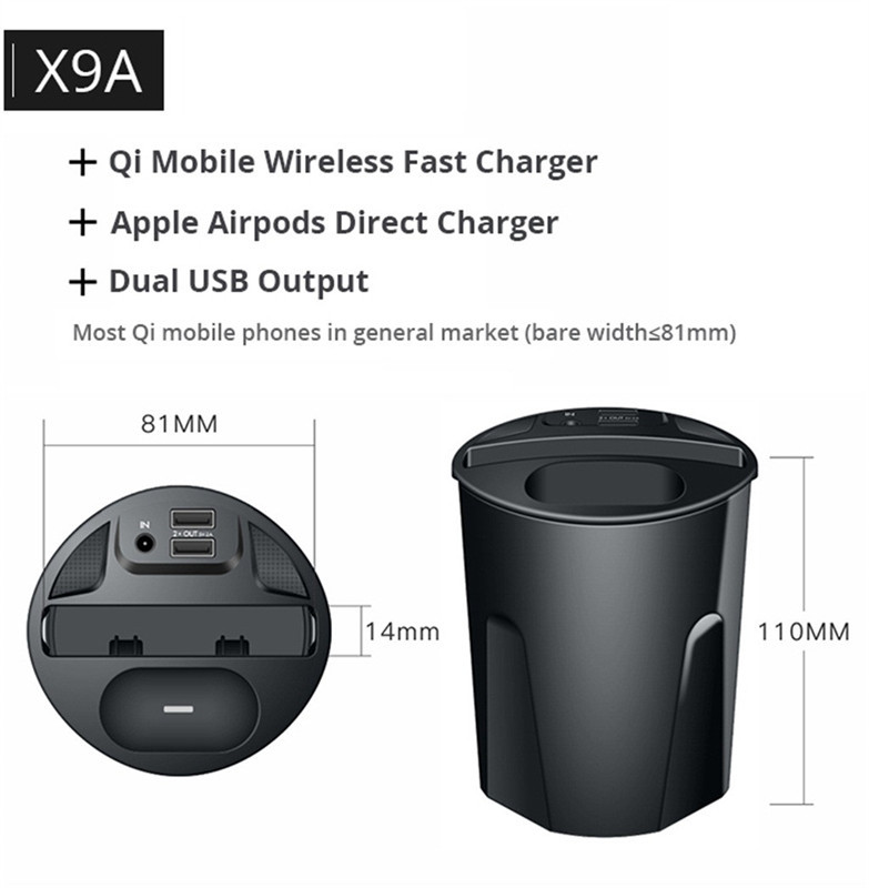 4 in 1 10W Qi Wireless Charger Car Cup Holder Car Charger Stand Mount for iPhone