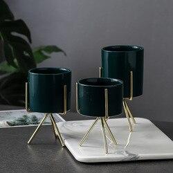 Conjunto de 3 pçs cerâmica flor plantadores com rack de ferro para plantas suculentas mesa vaso de flores cerâmica casa decoração do jardim