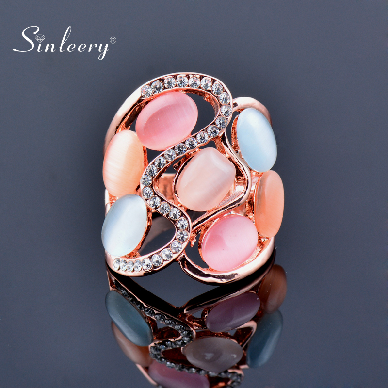 SINLEERY Women Luxury Hollow Multicolor Opal Stone Big Rings  Size 6 7 8 9 10 Rose Gold Color Vintage Jewelry JZ509 SSI
