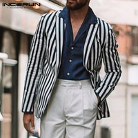 INCERUN England Street Men Striped Suit Jackets Coats Lapel Casual Stylish Button Down Slim Joker Comfort Mens Blazers Overwear