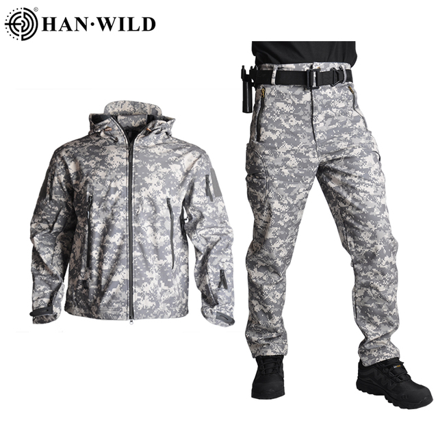 HAN WILD Tactical Jackets Hunting Suit Men Soft Shell Jacket Army Windproof Camo Shark Skin Military Hiking Jacket+Pants 5XL 1