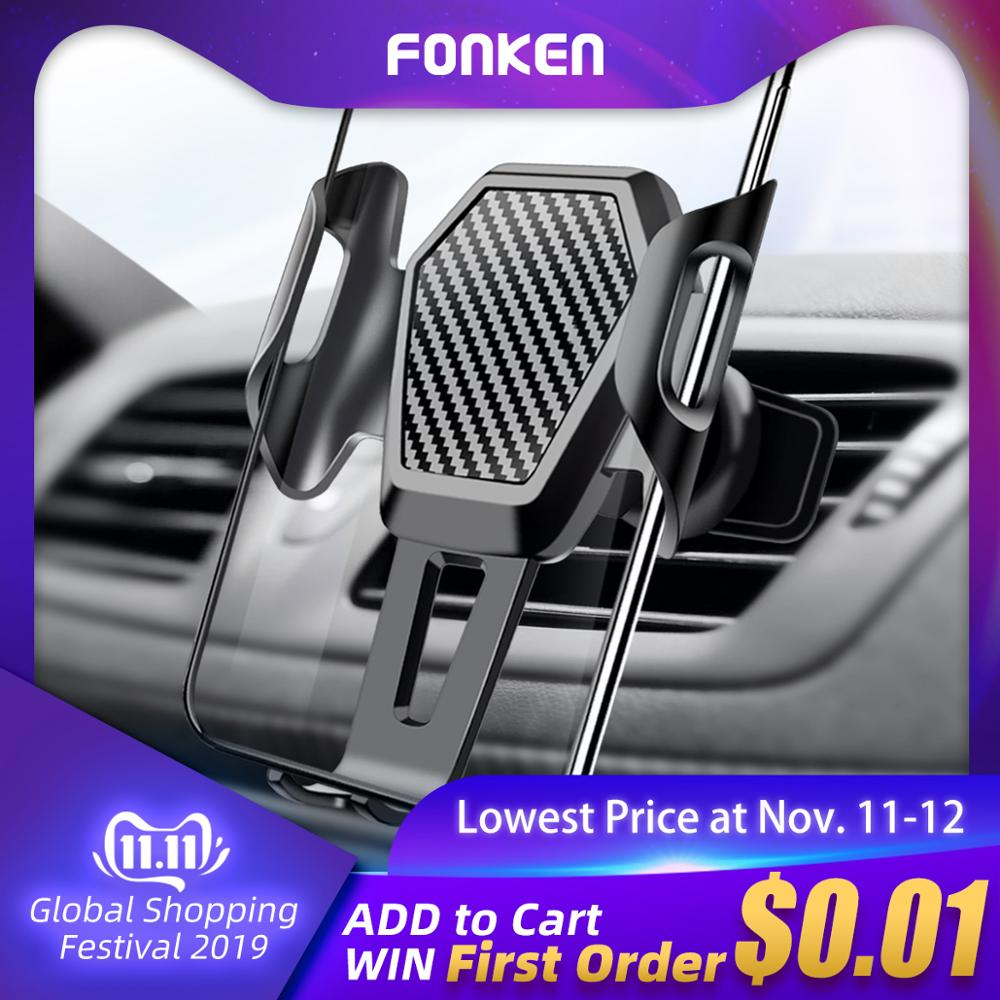 FONKEN Car Phone Holder Anti-shake Air Vent Mount Phone Memory Stands For Mobile In Car Cell Phone GPS Bracket Universal Socket