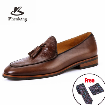 Mens formal shoes Genuine leather oxford for men dressing wedding men's brogues office Slip on male 2020 - discount item  49% OFF Men's Shoes