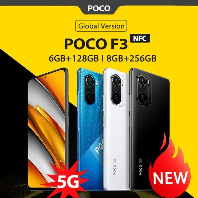 "Global Version POCO F3 NFC 5G 6GB 128GB/8GB 256GB Mobile Phone Snapdragon 870 Octa Core 6.67""120Hz E4 AMOLED Display 48MP 33W 1"