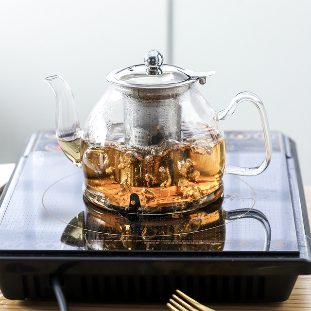 1L Glass Teapot Stainless Steel Filter  5