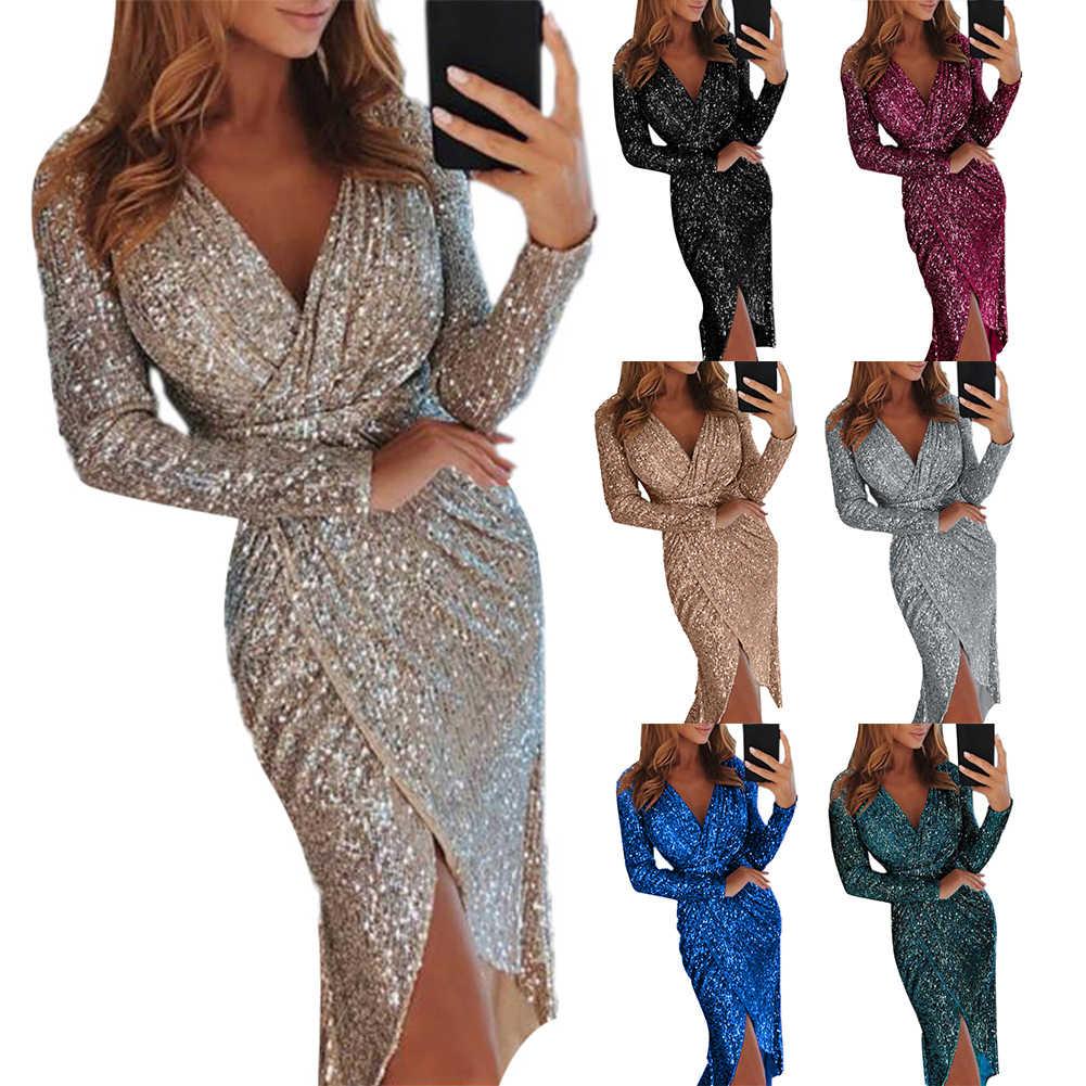 فستان ميدي هدية للنساء مقاس كبير للحفلات المسائية فستان مثير للنساء مزين بالترتر برقبة على شكل V فتحة عالية فساتين بودي كون 2020 بأقل سعر