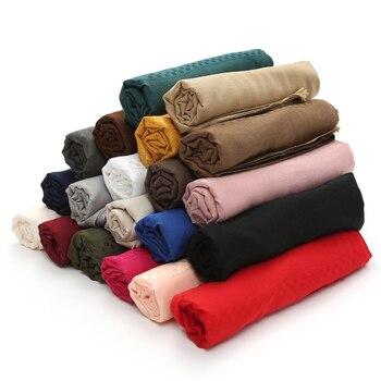 New Femme Hijab Scarf Muslimen Head Wraps Women Solid Cotton Shawls Pashmina Scarves Foulard Bandana High Quality - discount item  50% OFF Scarves & Wraps