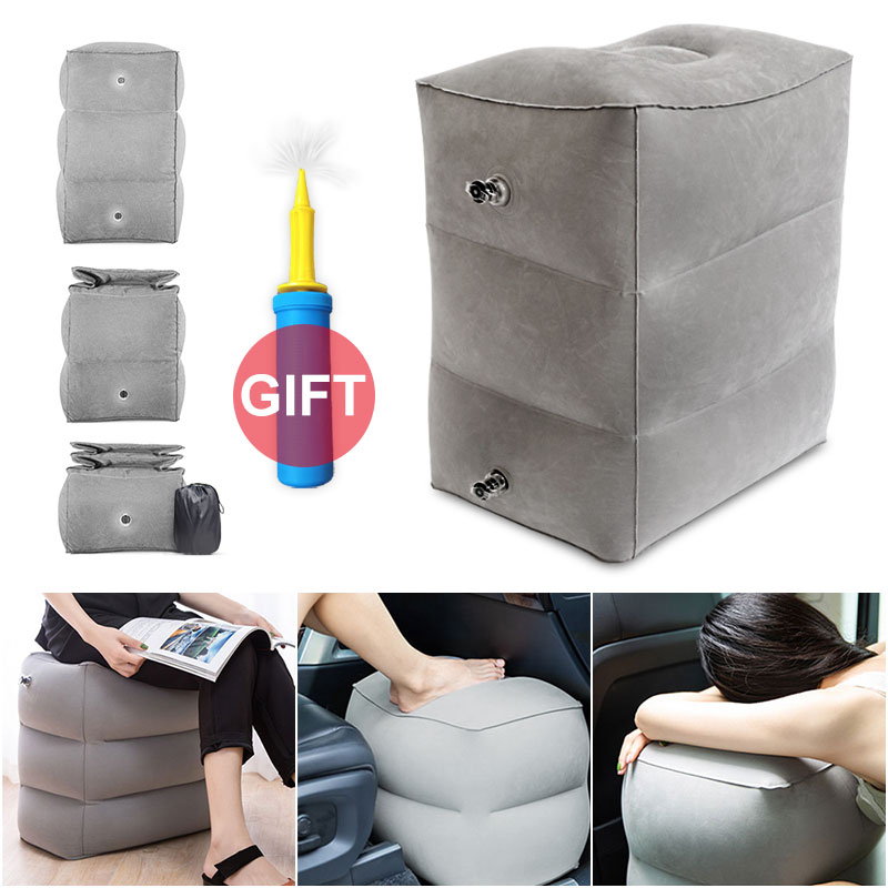 Outdoor Flight Sleeping Footrest Pillow Resting Pillow On Airplane Car Bus Pillow Inflatable Travel Foot Rest Pillow Foot Pad