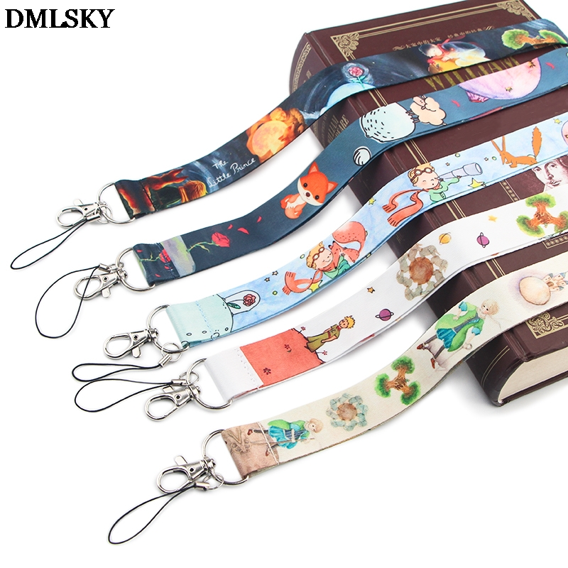 DMLSKY Cute Prince And Fox Lanyard Keychain Lanyards For Keys Badge ID Mobile Phone Rope Neck Straps Accessories Gifts M4380