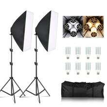 写真ソフトボックスライトキット 8 個E27 ledフォトスタジオ照明機器 2 ソフトボックス 2 ライトスタンドキャリーバッグ