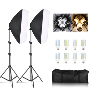 Image 1 - Photography Softbox Lightbox Kit 8 PCS E27 LED Photo Studio Camera Lighting Equipment 2 Softbox 2 Light Stand with Carry Bag