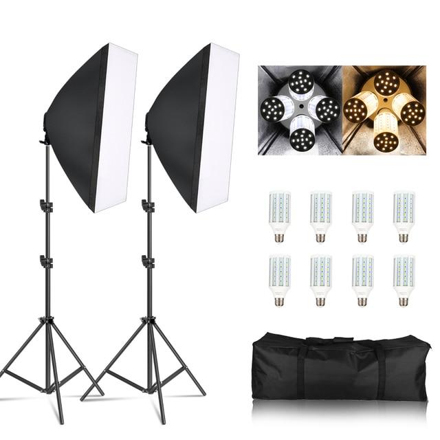 Photography Softbox Lightbox Kit 8 PCS E27 LED Photo Studio Camera Lighting Equipment 2 Softbox 2 Light Stand with Carry Bag