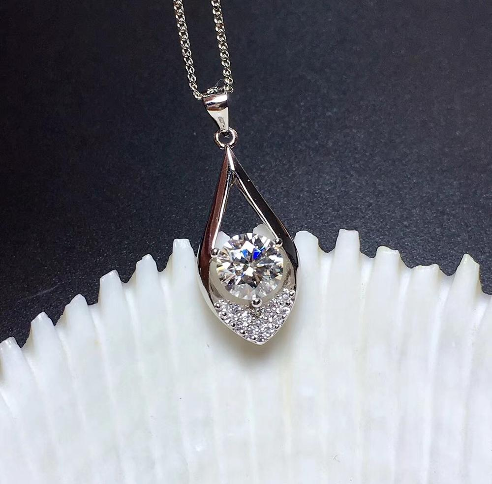 Usps Shipping Real Moissanite Necklace for Women, 1 Carat Gemstone Fine Jewelry, 925 Sterling Silver with GRA Certificate