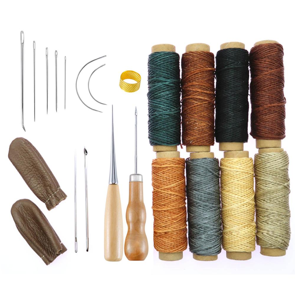 21pcs Leather Craft Stitching Tools Set With Hand Sewing Needles Awl Thimble Waxed Thread For DIY Leathercraft Sewing