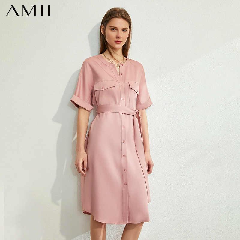 AMII 미니멀리스트 여름 여성 우아한 드레스 Office 레이디 라운드 넥 절반 슬리브 싱글 벨트 여성 드레스 12040165