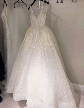 Sparkly Ivory Sequins Dress 2020 Charming Spaghetti Strap Backless Formal Prom Gowns Custom Made Women Party Dresses