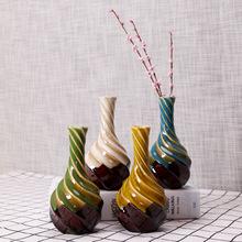Wazon ceramiczny nowoczesne artykuły wyposażenia wnętrz artykuły wyposażenia wnętrz rękodzieła układanie kwiatów suszonych kwiatów kwiatowy organ mini tanie tanio Blat wazon Vase Desktop Simple white green blue yellow classical
