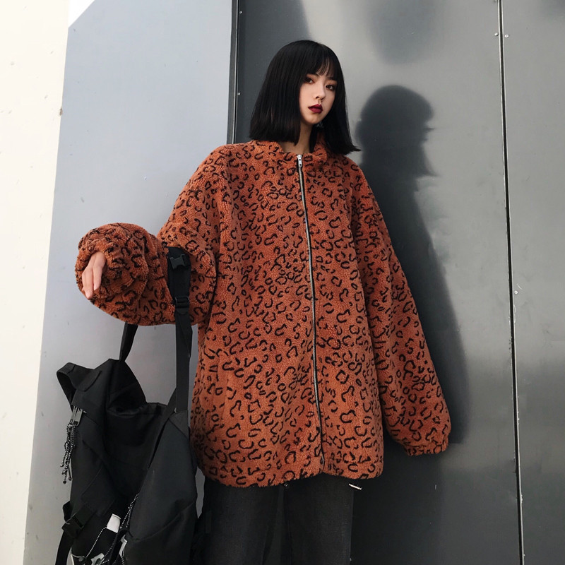 Focal20 Streetwear Leopard Japanese Letter Embroidery Women Coat Zipper Female Outerwear Casual Loose Warm Winter Lady Coats 1