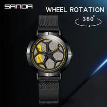 SANDA Модные мужские стальные часы с сеткой, Роскошные Кварцевые наручные часы с календарем, деловые повседневные часы для мужчин, мужские часы