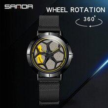 Sanda relógio de pulso masculino moderno, relógio de aço de malha de luxo com calendário, quartzo, relógio de pulso para homens, negócios, casual, relógio masculino