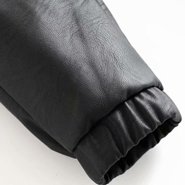 Vintage Stylish Pu Leather Pockets Pants Women 2020 Fashion Elastic Waist Drawstring Tie Ankle Trousers Pantalones Mujer 31
