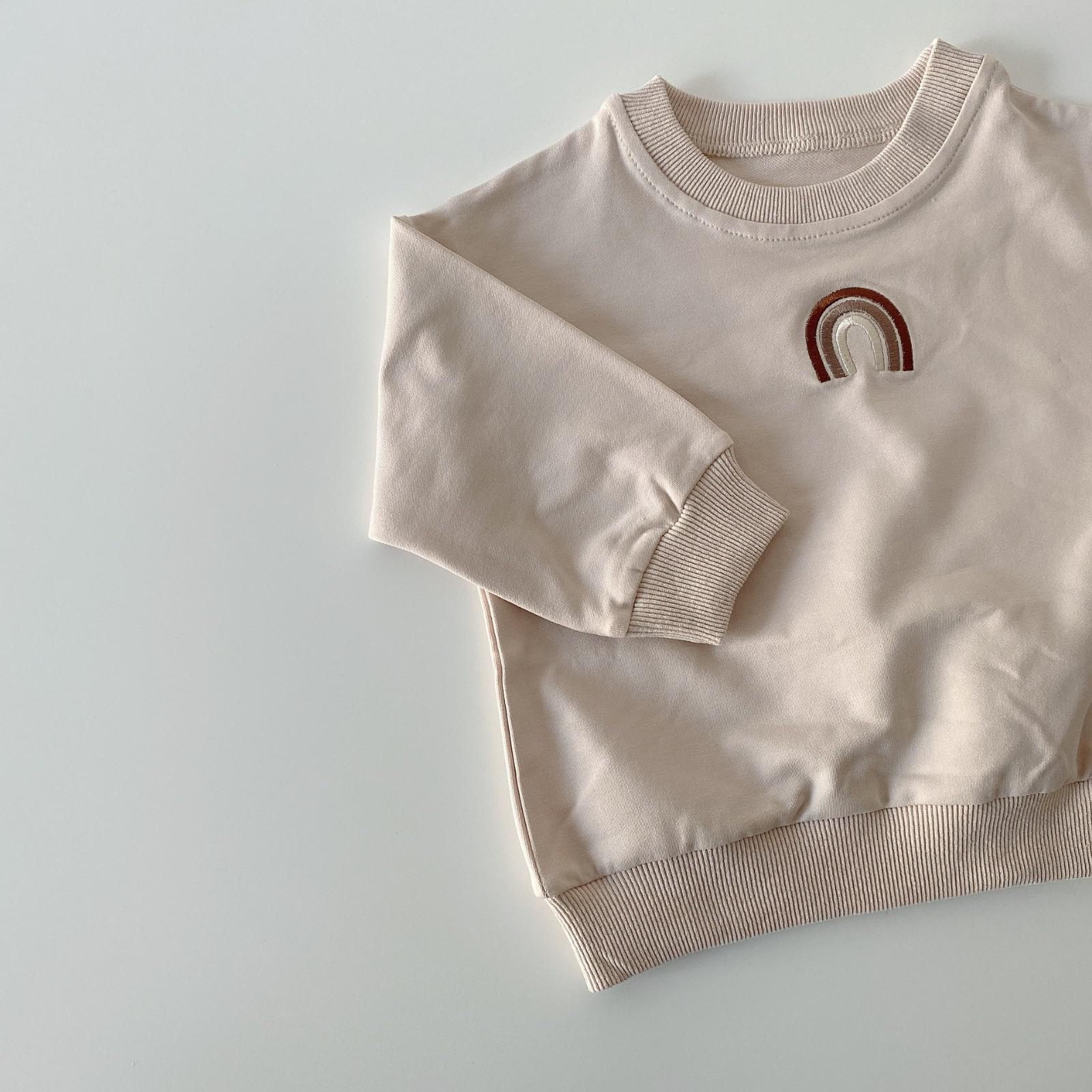 Autumn Baby Girls Embroidery Rainbow Sweatshirts Long Sleeve Tops Kids Toddler Boys Pullover Sweatshirt Rainbow T-shirt Clothes 8