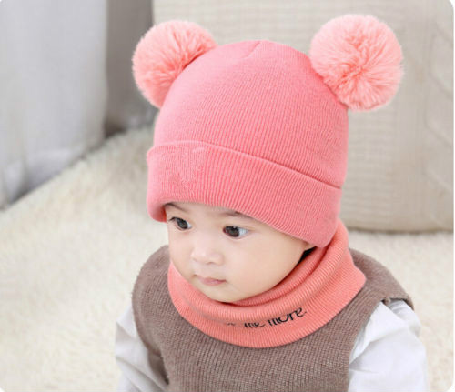 Winter Warm Children Hats Set Kid Double Fur Pom Pom Beanie Wool Knitted Hat For Baby Boys Girls Toddler Crochet Beanies Scarves
