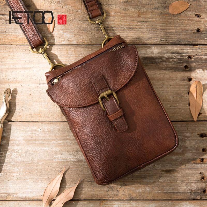 AETOO Original Retro First Layer Cowhide Multi-function Bag Tide Men's Bag Men's Pockets Messenger Bag Shoulder Bag Leather Cowh