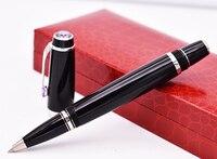 Крокодиловая Классическая Черная Ручка-роллер, благородный сапфир сверху с золотым зажимом, Подарочная коробка для письма, опционально для...